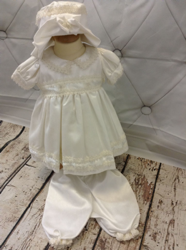 Ivory Dupion Dress with Knickerbockers and Hat